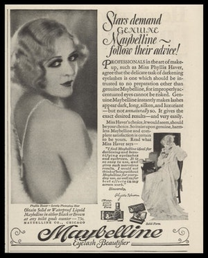 1929 Maybelline Vtg Ad Phyllis Haver C43 8