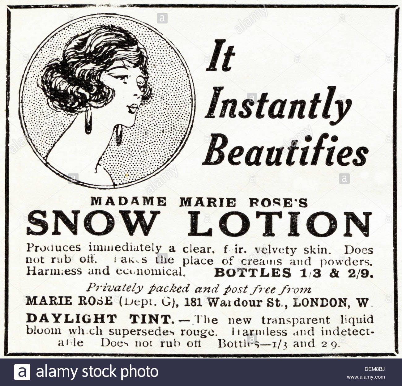 Original 1920s Advertisement Advertising Madame Marie Roses Snow Lotion Dem8bj