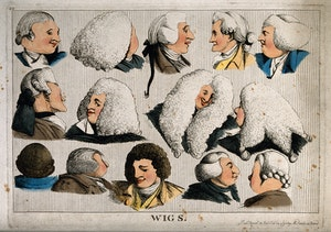 Fourteen Heads Showing Different Types Of Wigs  Coloured Etc Wellcome V0019819