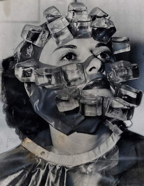 Weird Vintage Photos Ice Cubs Womans Face