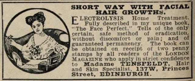 1917 Madame Tensfeldt Hair Removal The London Magazine May 1917